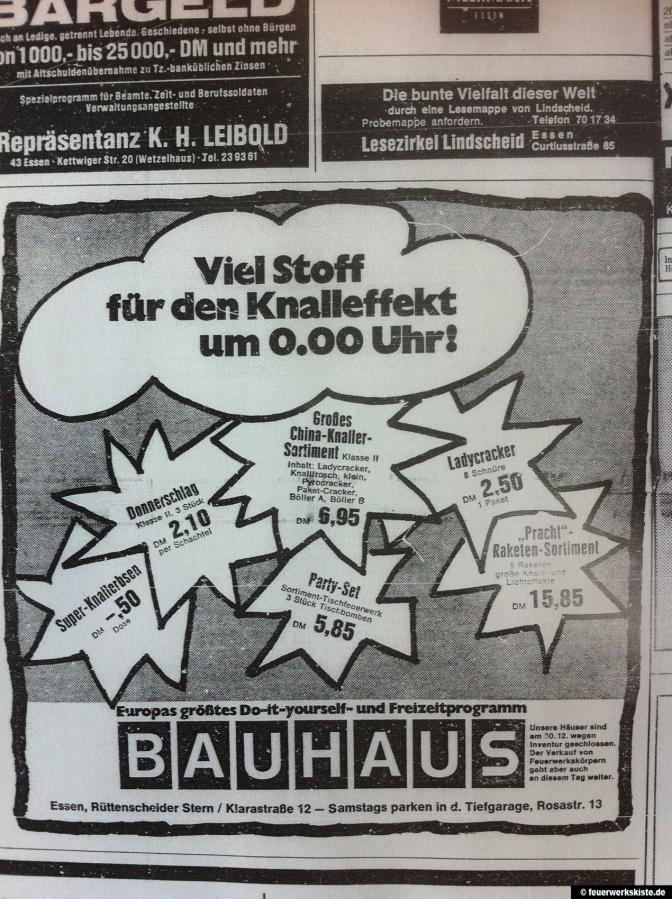 bauhaus feuerwerk werbung waz 1972 album. Black Bedroom Furniture Sets. Home Design Ideas