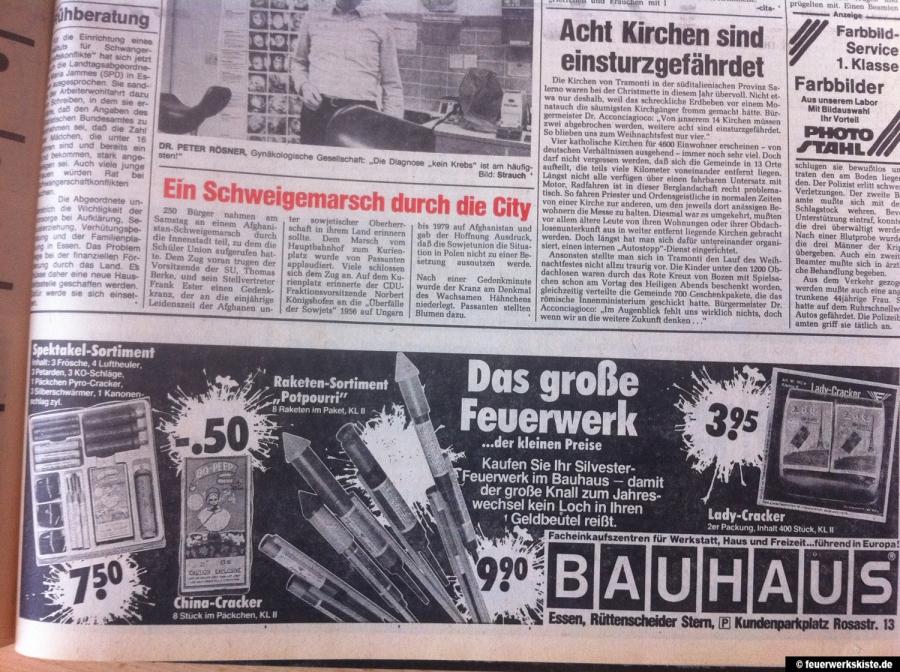 bauhaus feuerwerk werbung waz 1980 album. Black Bedroom Furniture Sets. Home Design Ideas
